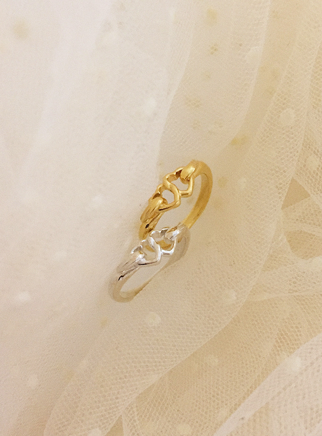 (Silver 925 & 18k Gold plating) double heart ring (5 sizes)