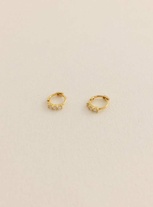(Silver 925) mini three cubic earring (2 colors)