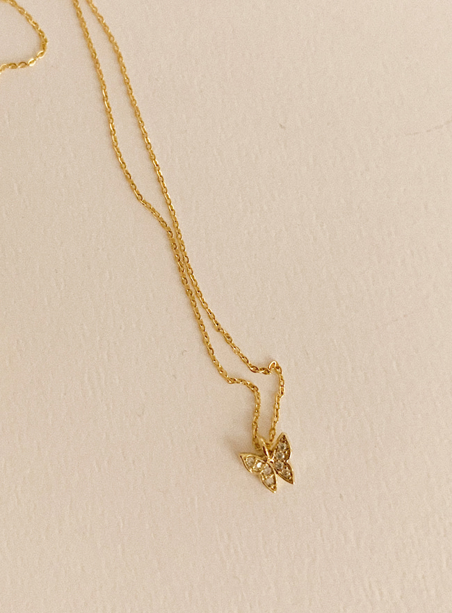 petit butterfly necklace (2 colors) (Allergy free)