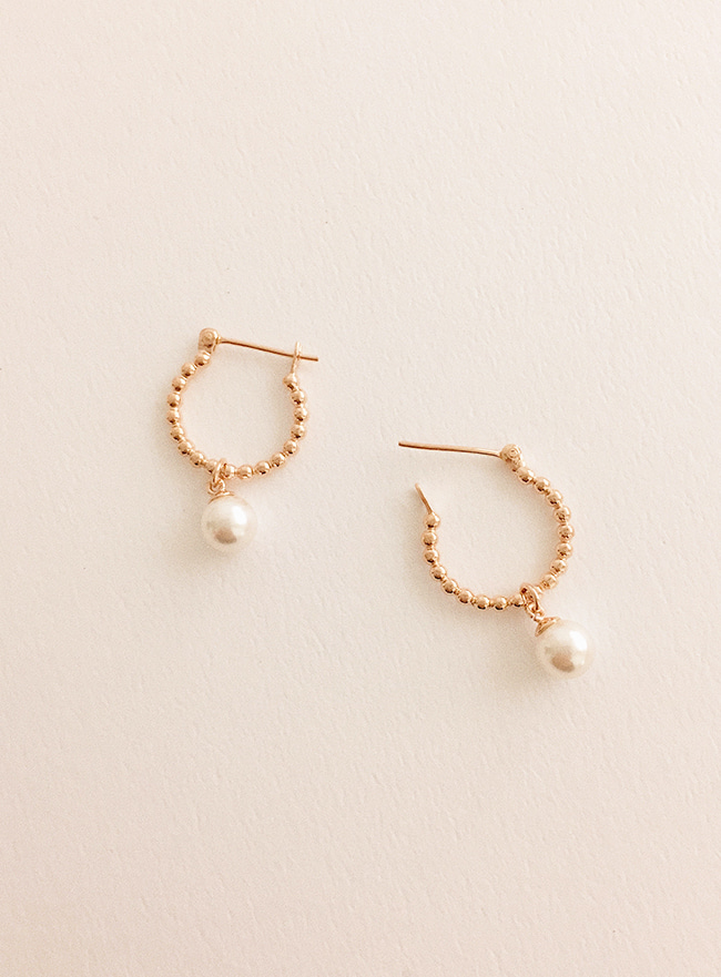 (Silver 925) warm pearl earring (2 colors)