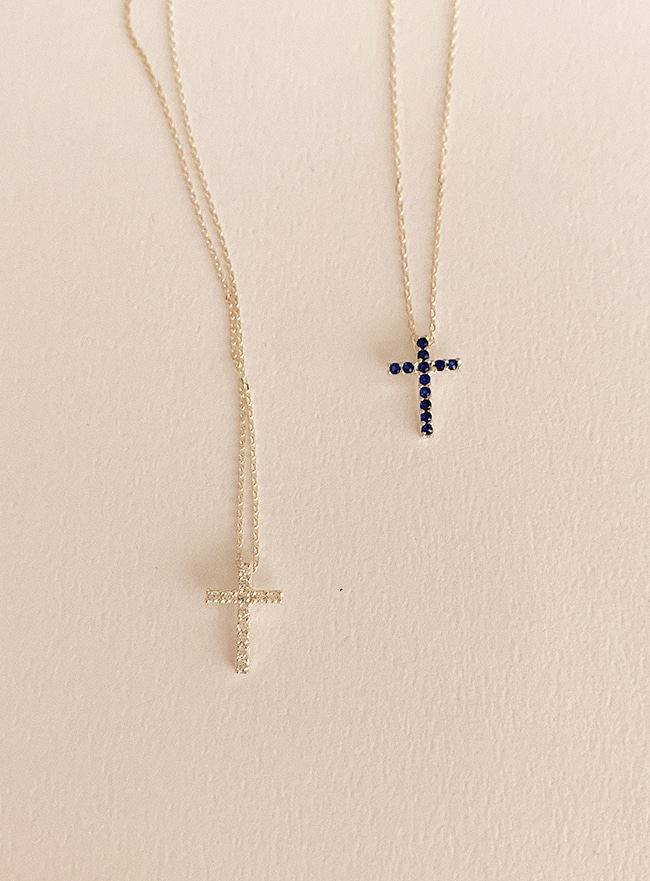 (Silver 925) brilliant cross necklace (2 colors)