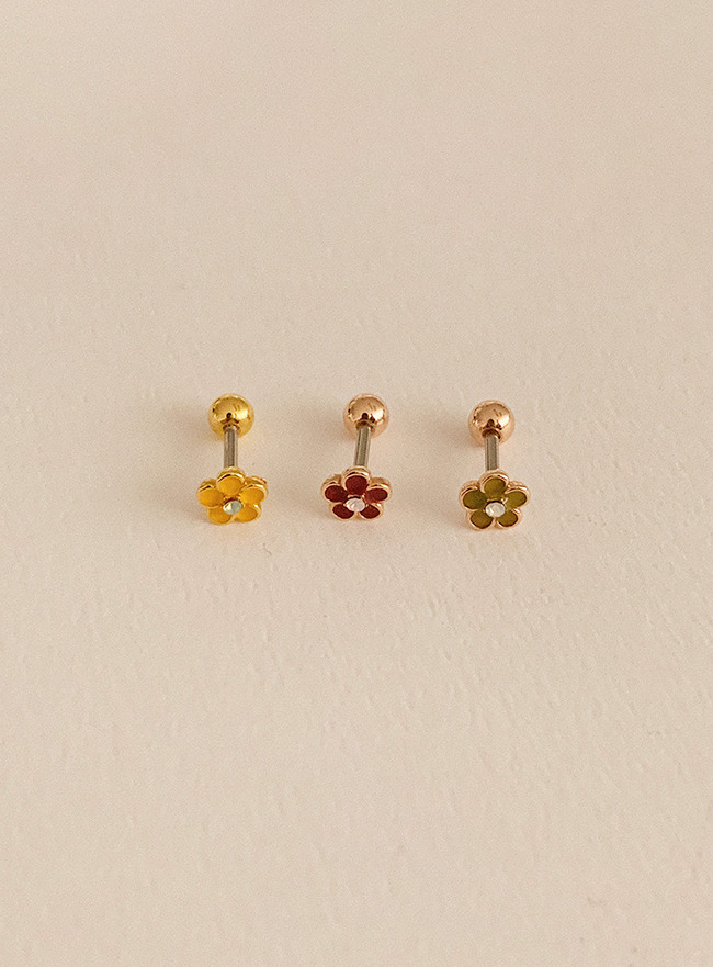 (써지컬 스틸) palette flower piercing (3 colors)