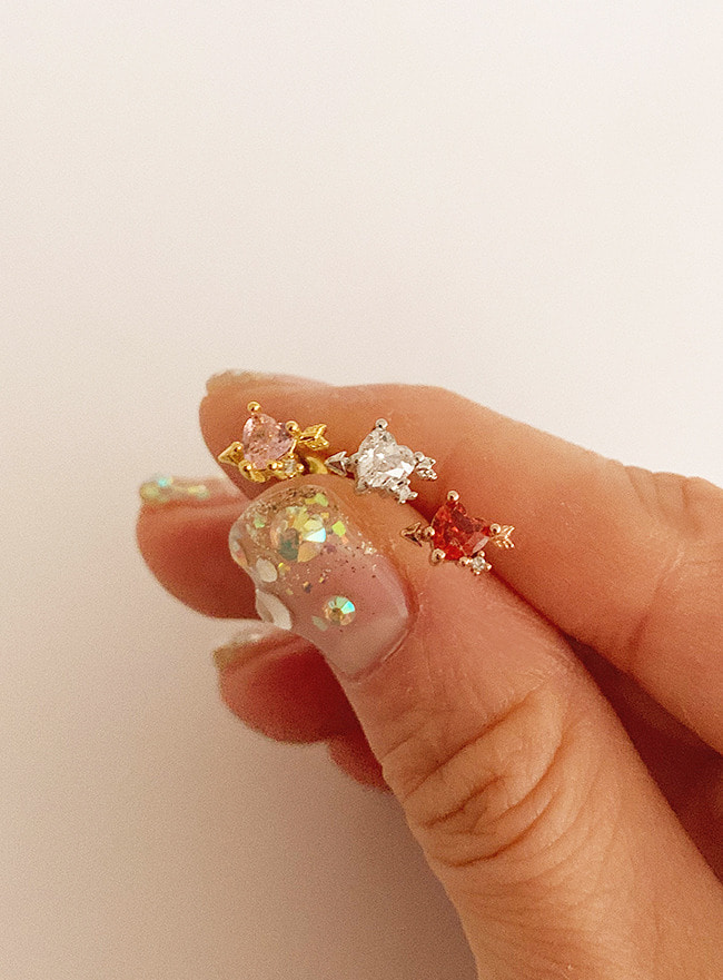 (써지컬 스틸) petit heart cupid piercing (3 colors)