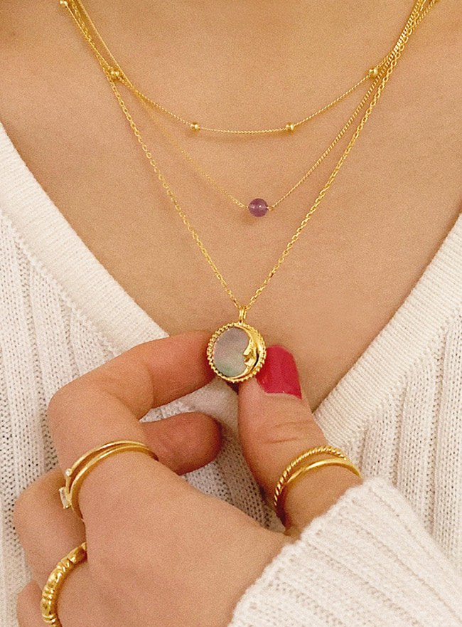 (Silver 925) nacre moon necklace (자개, 2 colors)