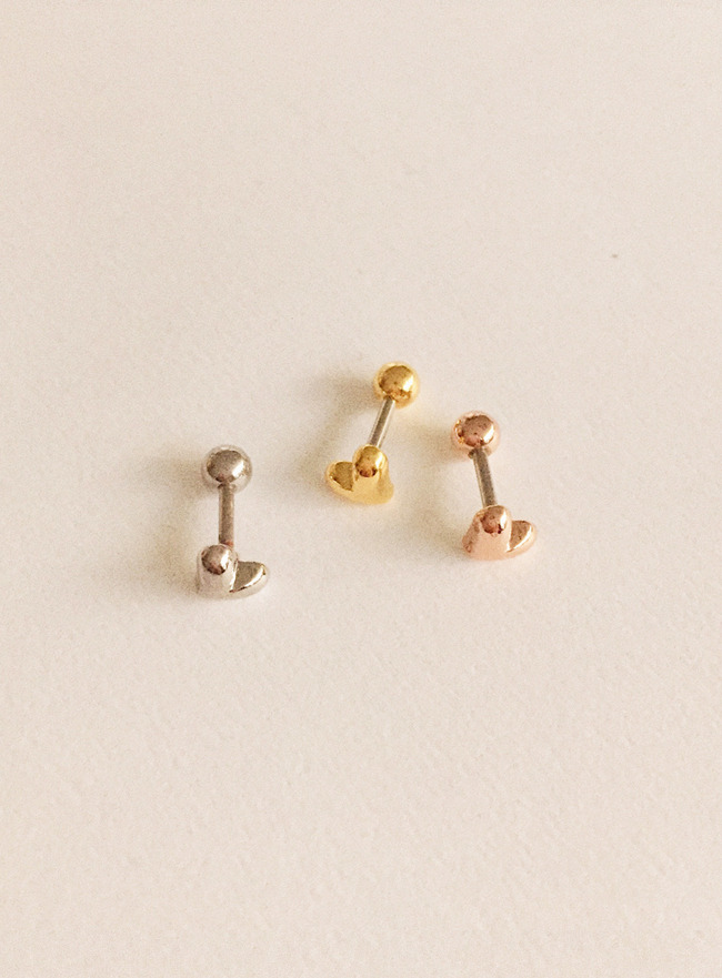 (써지컬 스틸) peachy heart piercing (3 colors)