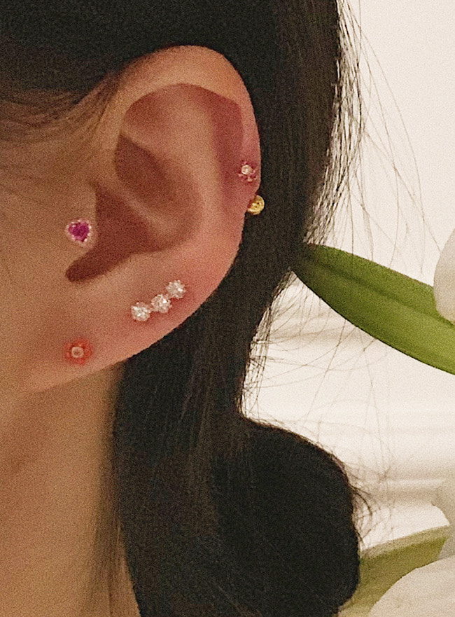 (써지컬 스틸) lace heart piercing (3 colors)